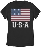 Unbranded Juniors' Distressed American Flag USA Vintage Graphic Tee