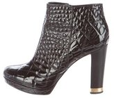 Tory Burch Embossed Patent Leather Ankle Boots