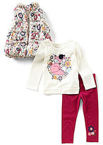 Flapdoodles Little Girls 2T-6X Floral-Printed Puffer Vest, Graphic Tee & Solid Leggings Set