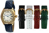 Peugeot Womens Crystal-Accent Interchangeable Leather Strap Watch Set 679G Family