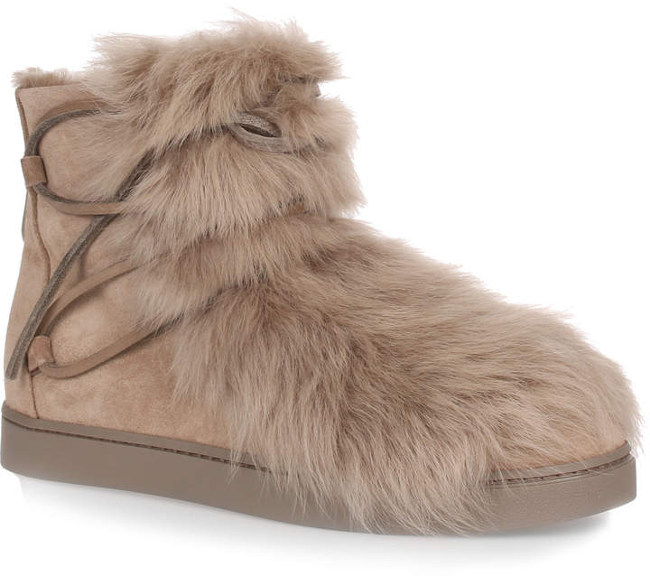 Gianvito Rossi Inuit beige suede and shearling sneaker