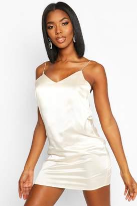 boohoo Diamonte Strap Satin Slip Dress