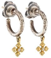 Konstantino Two-Tone Diamond Maltese Cross Hoop Earrings