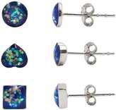 FOROLAV 3 Pairs Sterling Silver 5mm Tiny Sequins Stud Earrings(Round, Heart and Square)
