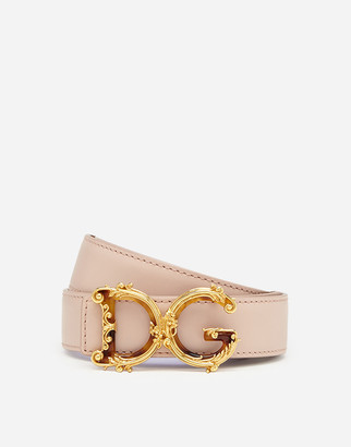 Dolce & Gabbana Leather Belt With Baroque Logo