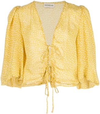 Nicholas Floral Print Lace-Up Blouse