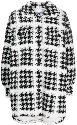 Stand Studio Houndstooth Button-Up Knitted Coat