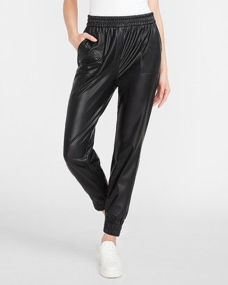 Express High Waisted Vegan Leather Jogger Pant