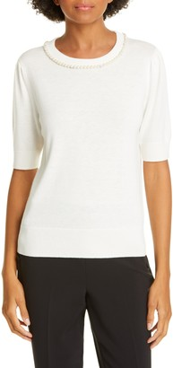 Kate Spade Imitation Pearl And Crystal Pave Detail Sweater