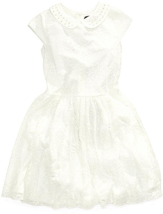 GUESS Girls Dress, Little Girls Faux-Pearl-Collar Lace Dress