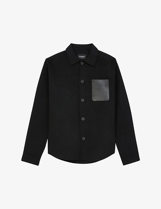 The Kooples Contrast-pocket collared wool-blend shirt
