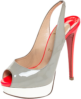 Christian Louboutin Tricolor Patent Leather Lady Peep Toe Platform Slingback Sandals Size 38.5