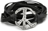 String Cuff with Peace Sign in Black