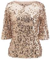 Kuji Woen Sequin Sparkle Glitter Tank Coctail Party Tops T-Shirt Blouses (Sleeve length 37 c