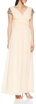 Little Mistress Women's Nude Jewel Sleeve Maxi Dress Cocktail Plain V-Neck Short Sleeve Party Dress,40 EU, UK
