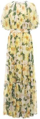 Dolce & Gabbana Camelia Print Silk Georgette Maxi Dress