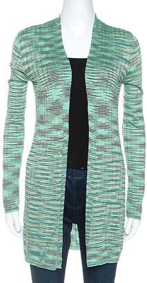 M Missoni Mint Green Striped Knit Open Front Cardigan M