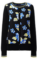 Lands' End Women's Tall Supima Woven Front Cardigan Sweater-Octagon Blue Multi Floral