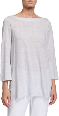 Eileen Fisher Striped Angled Bracelet-Sleeve Jersey Tunic Tee