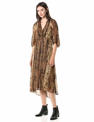 Taylor Dresses Women's Short Balloon Sleeve Snakeskin Printed Midi Dress