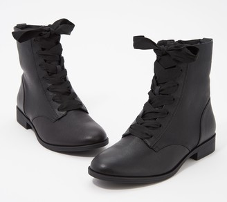 Vionic Leather Lace-Up Ankle Boots - Jayce