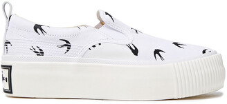 McQ Printed Twill Platform Slip-on Sneakers