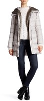 Laundry by Shelli Segal Hooded Quilted Faux Fur Trim Down Jacket