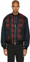 3.1 Phillip Lim Black and Red Panelled Ma-1 Bomber Jacket