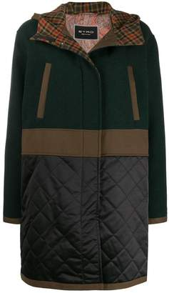 Etro contrast panel hooded parka