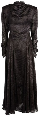 Sandra Mansour Satin High-Neck Maxi Dress