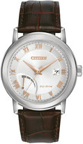 Citizen Men's Eco-Drive Brown Leather Strap Watch 41mm AW7020-00A