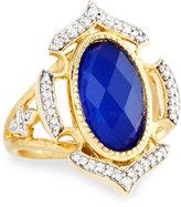 Jude Frances Malta 18k Lapis & Diamond Cocktail Ring, Size 6.5
