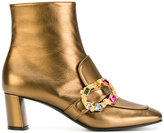 Casadei crystal buckle ankle boots