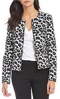 Calvin Klein Petites Leopard Print Scuba Crepe Knit Zip Front Jacket