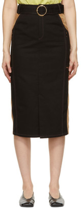 ANDERSSON BELL Black and Tan Slit Nadia Skirt