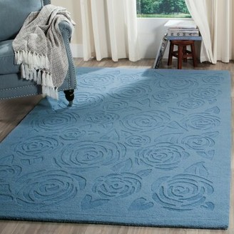 Martha Stewart Block Rose Hand-Tufted Wool Blue Area Rug Rug Size: Rectangle 5' x 8'