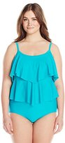 Maxine Of Hollywood Women's Plus-Size Tricot Tiered One Piece Swimsuit