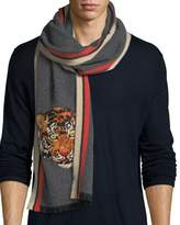 Gucci Wool Cashmere Scarf with Tiger