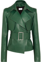 Thierry Mugler Belted Leather Biker Jacket - Emerald