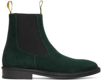 Lanvin Green Suede Chelsea Boots