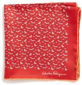 Salvatore Ferragamo Edo Dog Silk Pocket Square