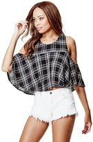 GUESS Women's Flara Cold-Shoulder Plaid Top