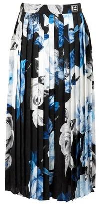 Off-White Pleated silk skirt