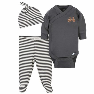 Grow By Gerber Gerber baby boys Organic 3-piece Onesies Bodysuit Footed Pant and Cap Layette Set