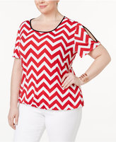 NY Collection Plus Size Chevron Cold-Shoulder Top