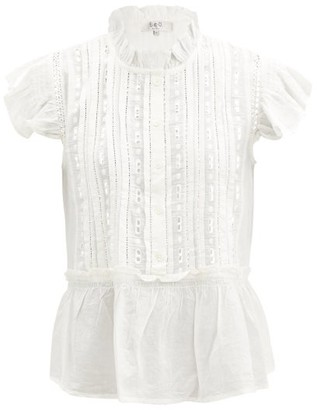 Sea Ingrid Shirred Broderie-anglaise Cotton Blouse - White