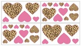 JoJo Designs Sweet Cheetah Girl Wall Decal Stickers- Pink-Camel-Chocolate