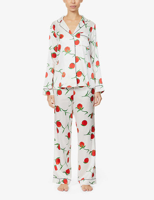 Yolke Classic orange-print stretch-silk pyjama set