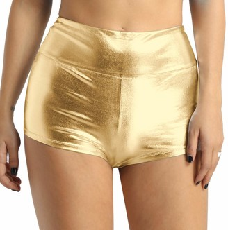 Agoky Women's Shiny Metallic Stretch High Waist Dance Booty Shorts Gym Yoga Hot Pants Swimsuit Gold XX-Large