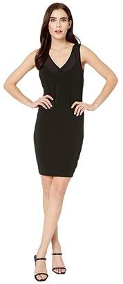 Nicole Miller Heavy Jersey/Mesh V-Neck Sleeveless Dress (Black) Women's Clothing
